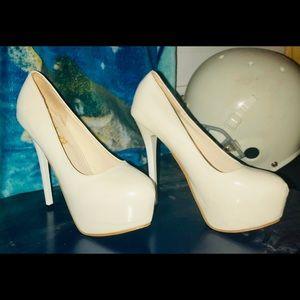 Women's white platform heels